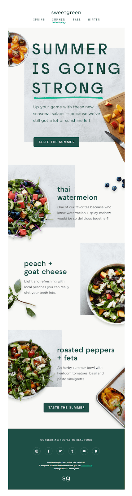 sweetgreen email marketing campaign examples