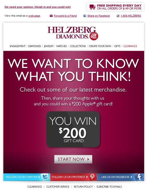Helzberg Diamonds survey invitation email examples