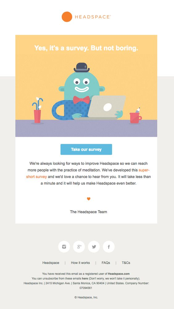 Headspace survey invitation email examples