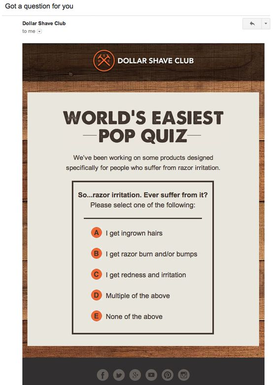 Dollar Shave Club survey invitation email examples