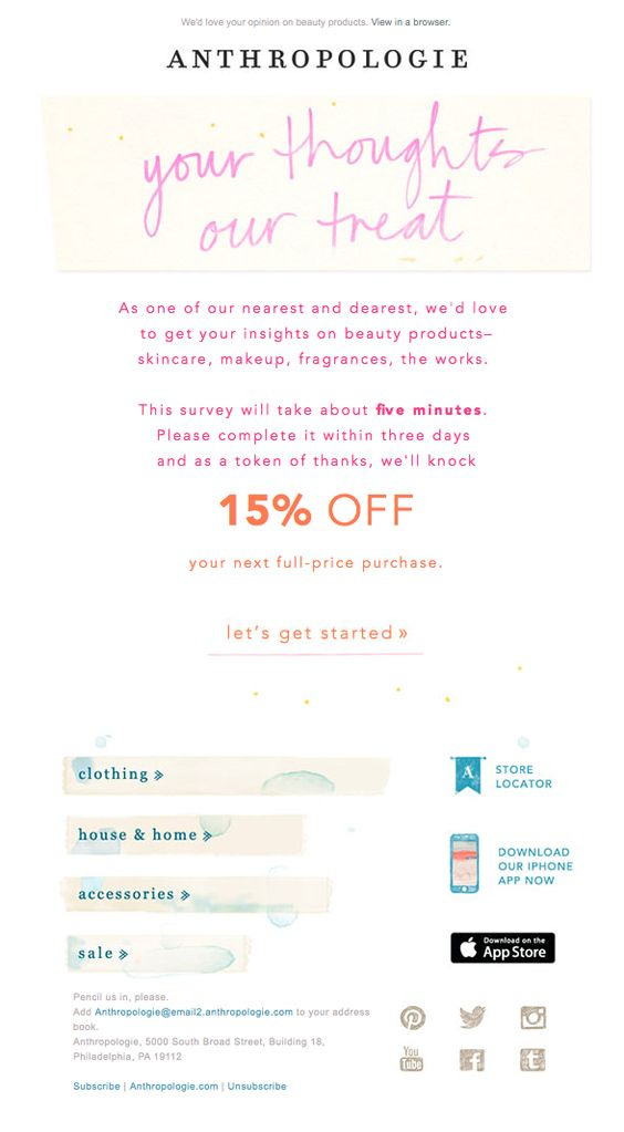 anthropologie survey invitation email examples