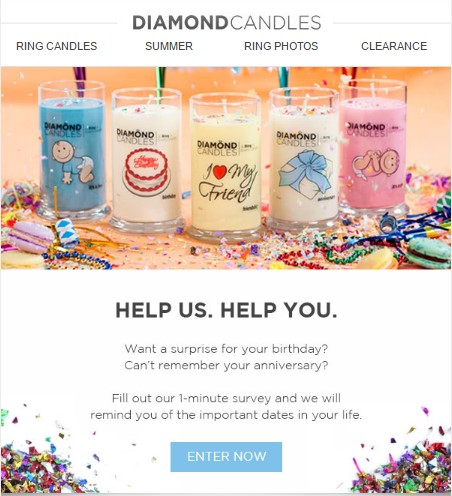Diamond Candles survey invitation email examples