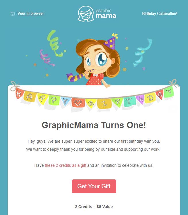 GraphicMama customer appreciation email marketing