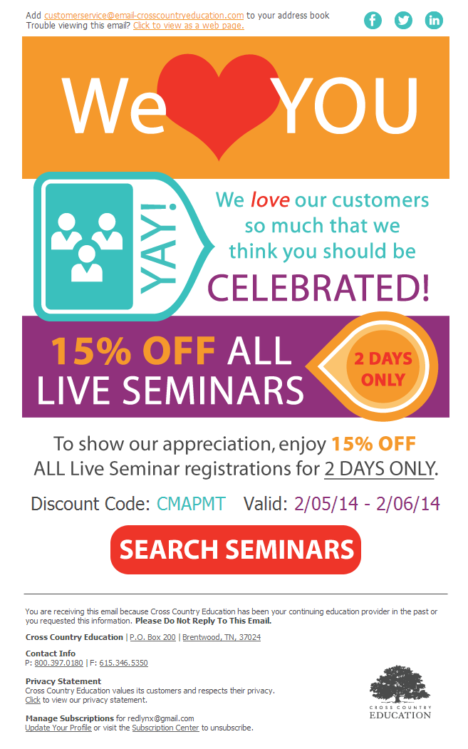Cross Country Educations customer appreciation email marketing