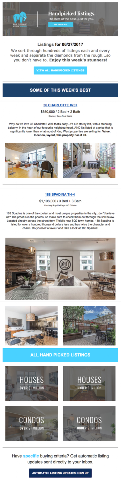blue elephant realty email newsletter examples