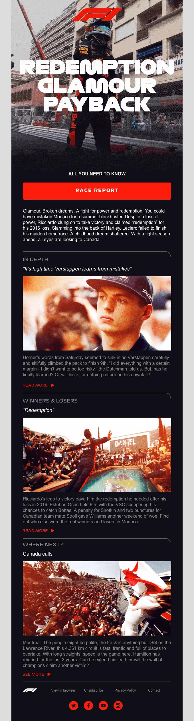 email marketing inspiration Formula 1