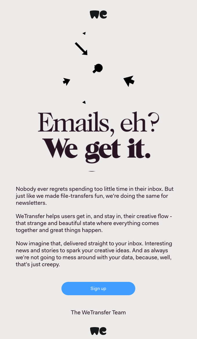 email marketing inspiration WeTransfer