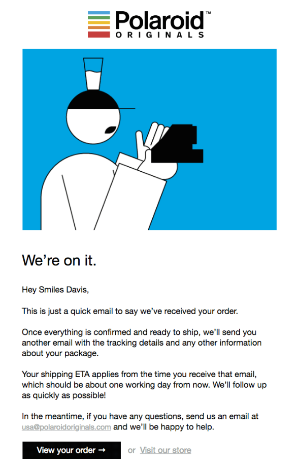 order confirmation emails Polaroid