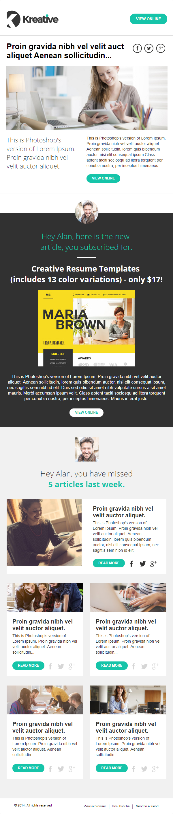 Kreative newsletter-template
