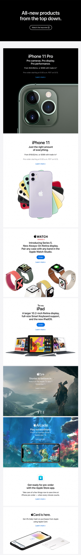 Email Automation Example by Apple - Showcasing their latest products from fall 2019