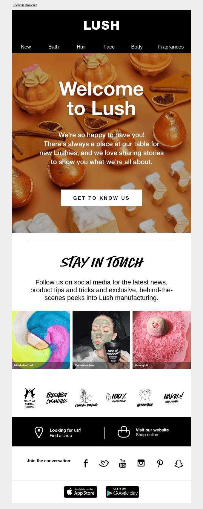 Welcome Automation Email Example by Lush