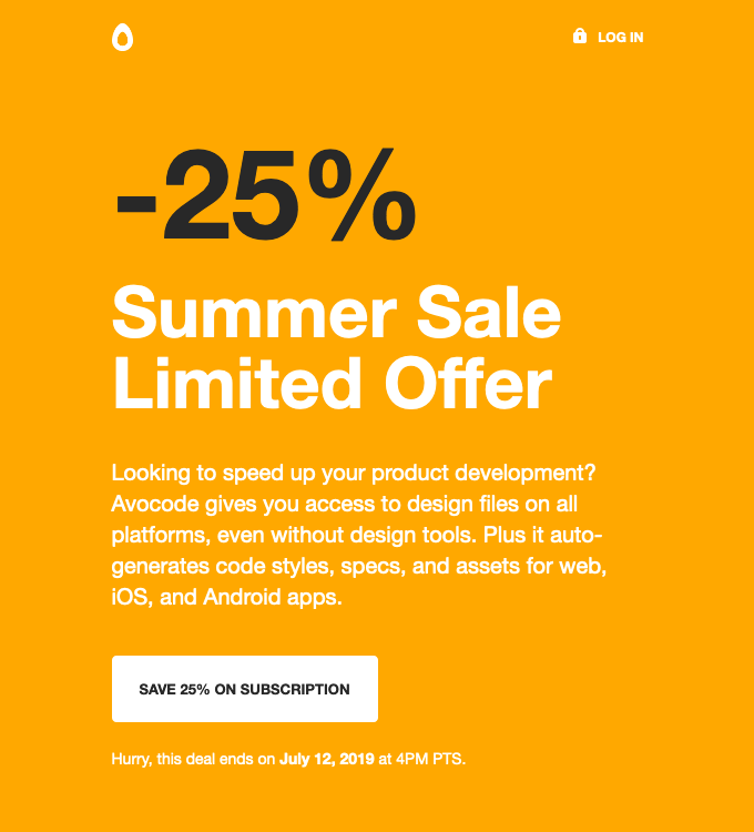Sale Announcement Email Automation Example by Avocode