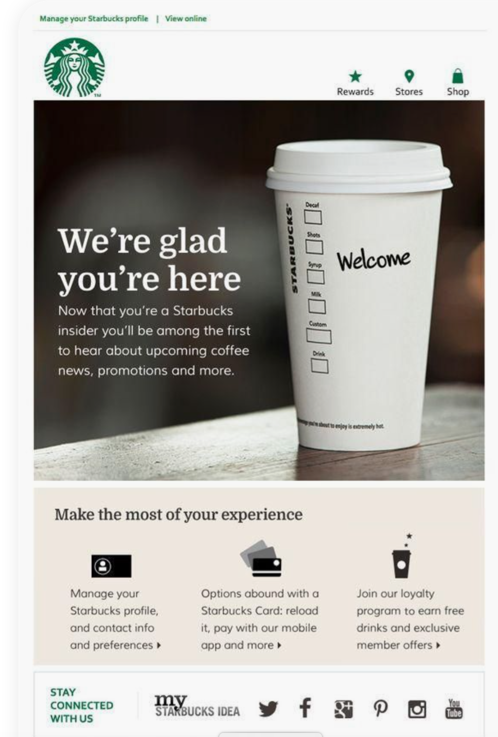 Screenshot from Starbucks' Welcome Email Automation Example