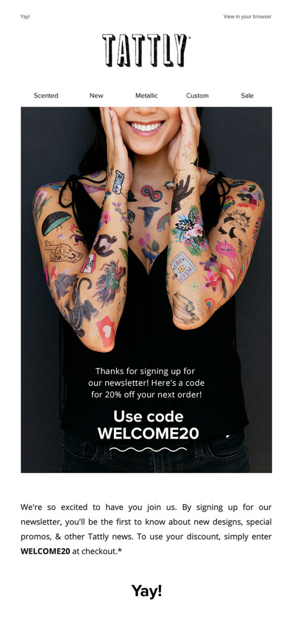 Welcome Email Automation Examples by Tattly