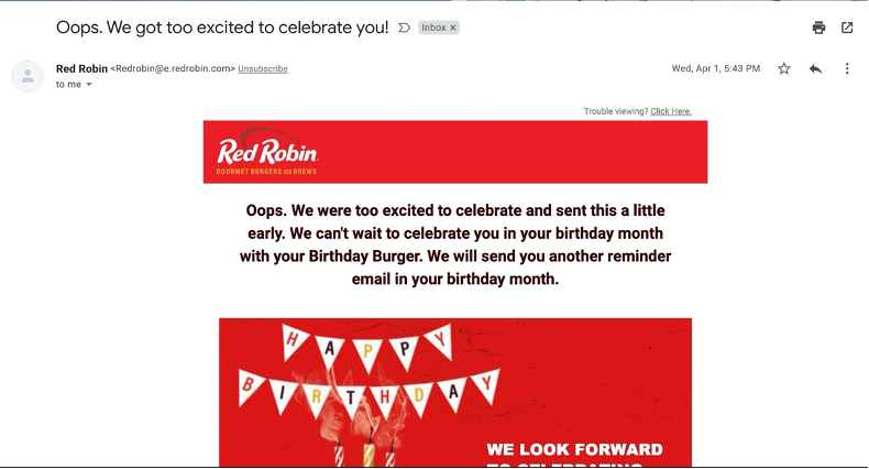 Red Robin wrong email
