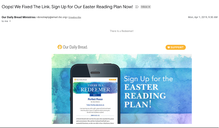Our Daily Bread email screenshot
