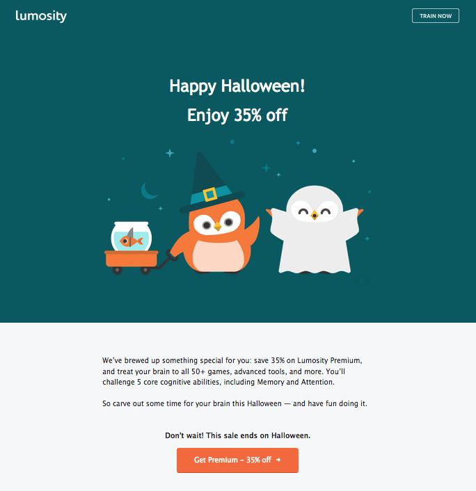 lumosity mascot owls present a spooky discount