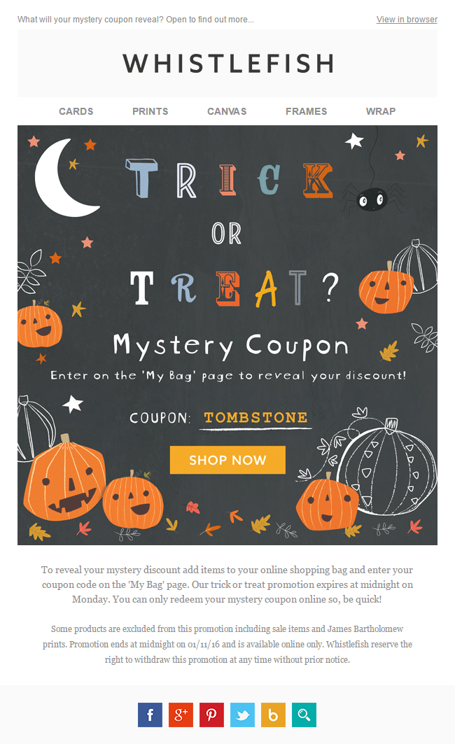 whitefish halloween discount with festive fonts
