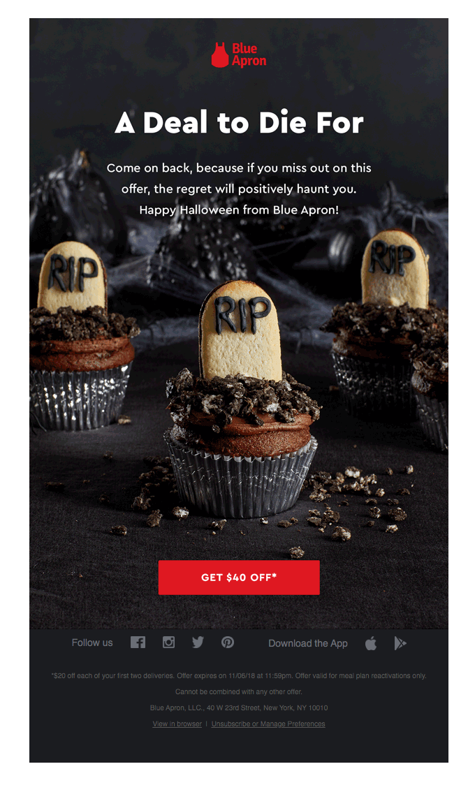 blue apron showcasing spooky treats and a sweet discount