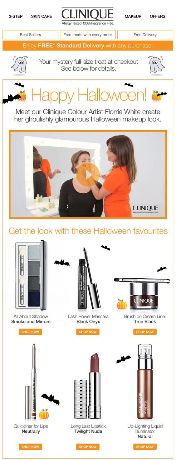 clinique makeup artist demonstrating how to create a ghoulishly glamorous look