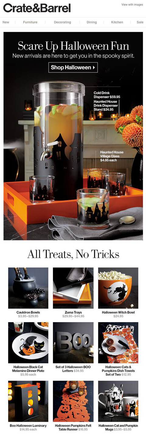 crate and barrel halloween party ideas