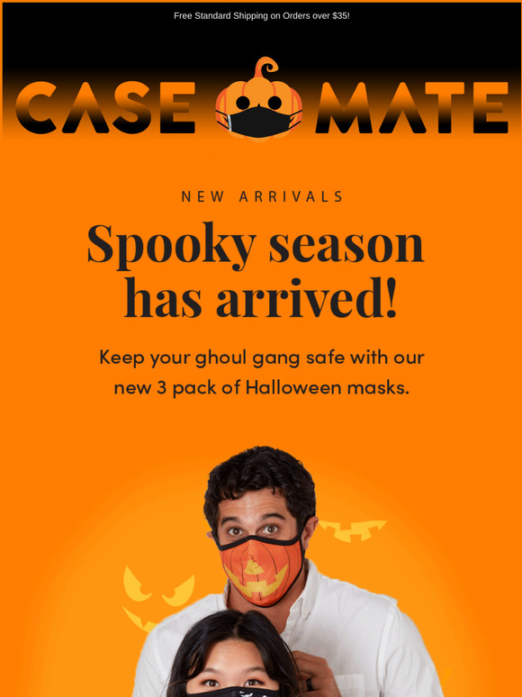 case-mate black and orange background showcasing how to protect your phone and your face