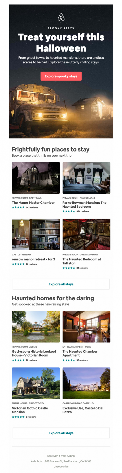 airbnb highlights haunted houses that halloween lovers can stay in to get in the spooky spirit