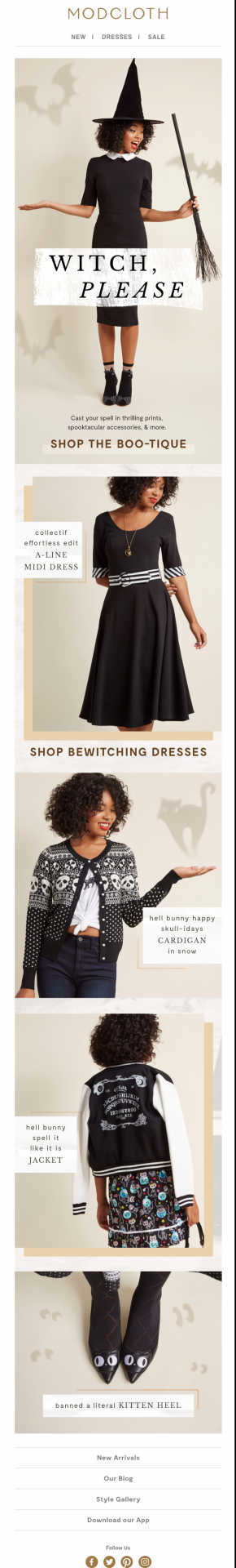 modcloth showcases their fall collection with witch themed outfit ideas