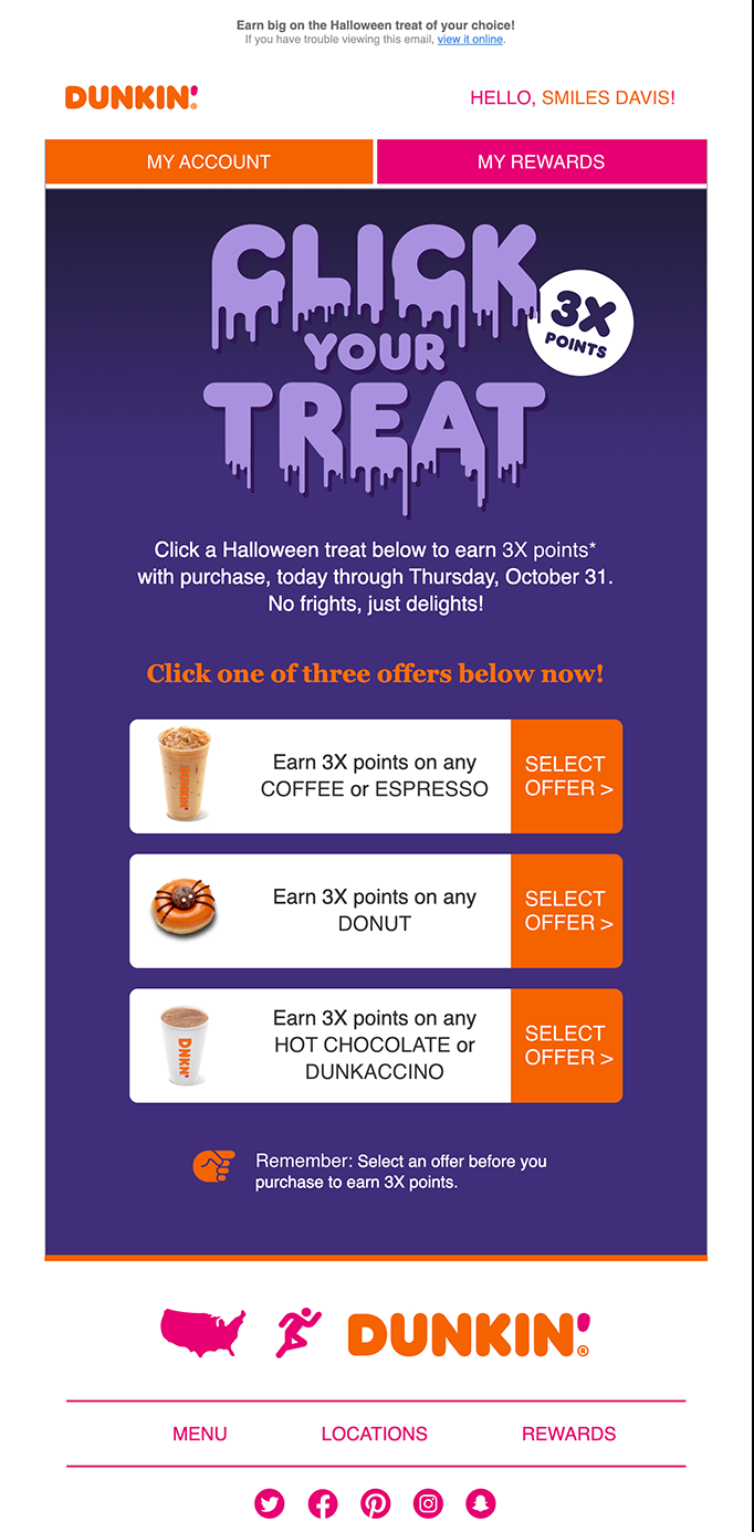 dunkin' donuts choose your treat and point reward options