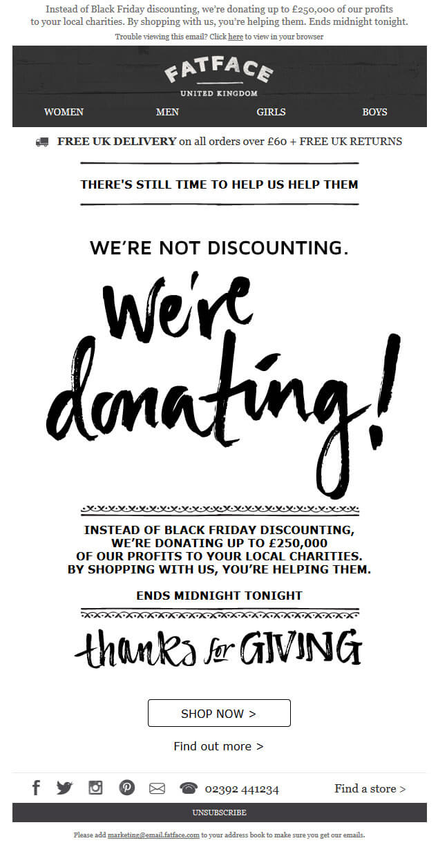 Fat Face donation Black Friday email featuring plain, paintbrush stroke lettering and filigree
