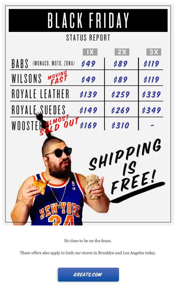 Greats Black Friday email featuring man in sunglasses, and basketball jersey eating New York style pizza in front of an inventory status board
