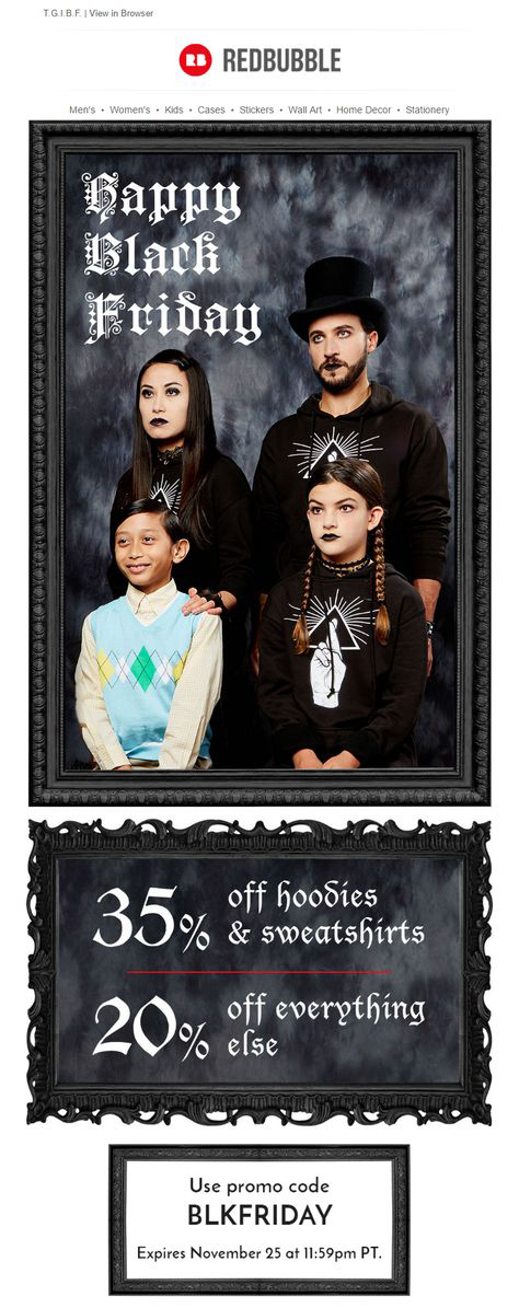 Redbubble Black Friday featuring family dressed in all black posing for a portrait next to a child dressed in bright colors
