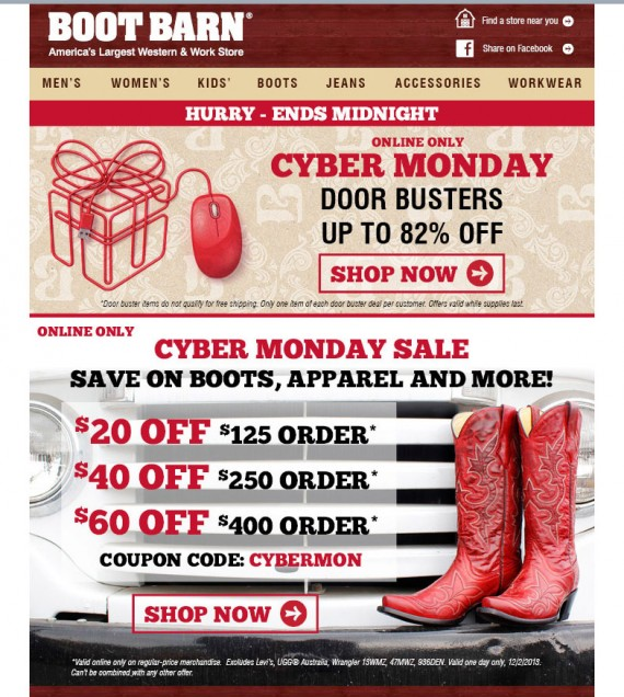 Boot Barn showcases a spend more save more discount tier in their Cyber Monday email