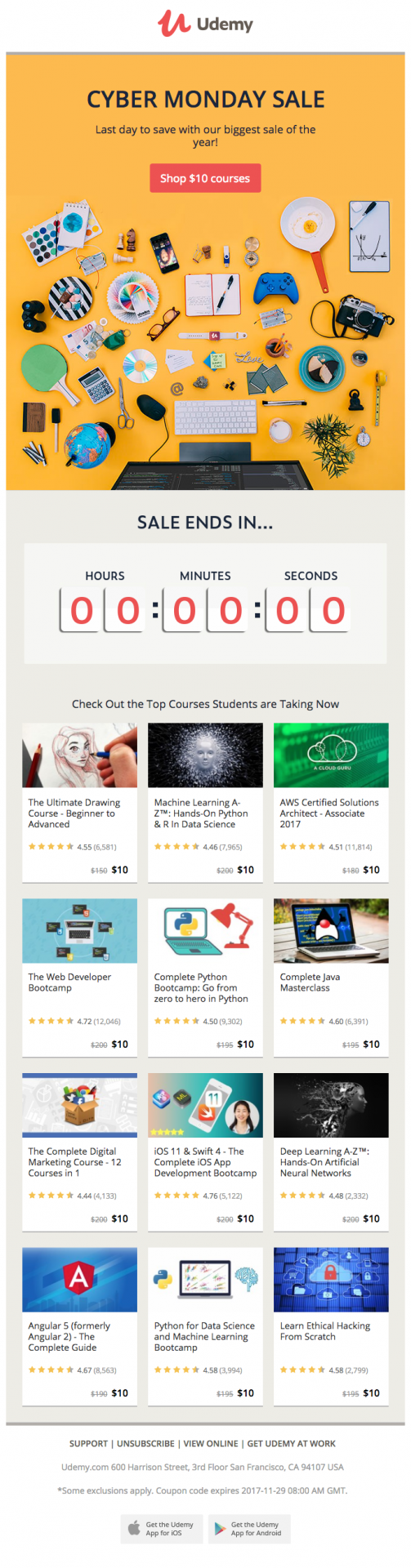 Udemy Cyber Monday email shows shoppers the different skills they can learn through their sale