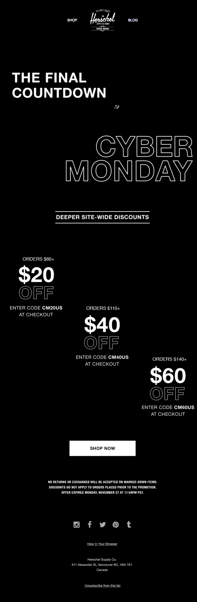Hershel's email highlights the final countdown to the end of its Cyber Monday sale
