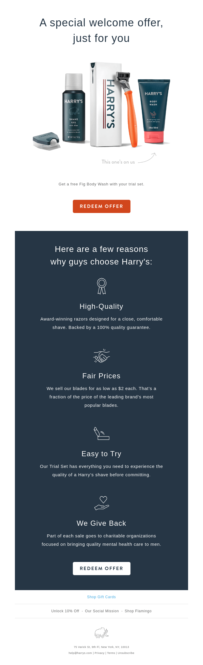 Harry's welcome email featuring a what to expect guide