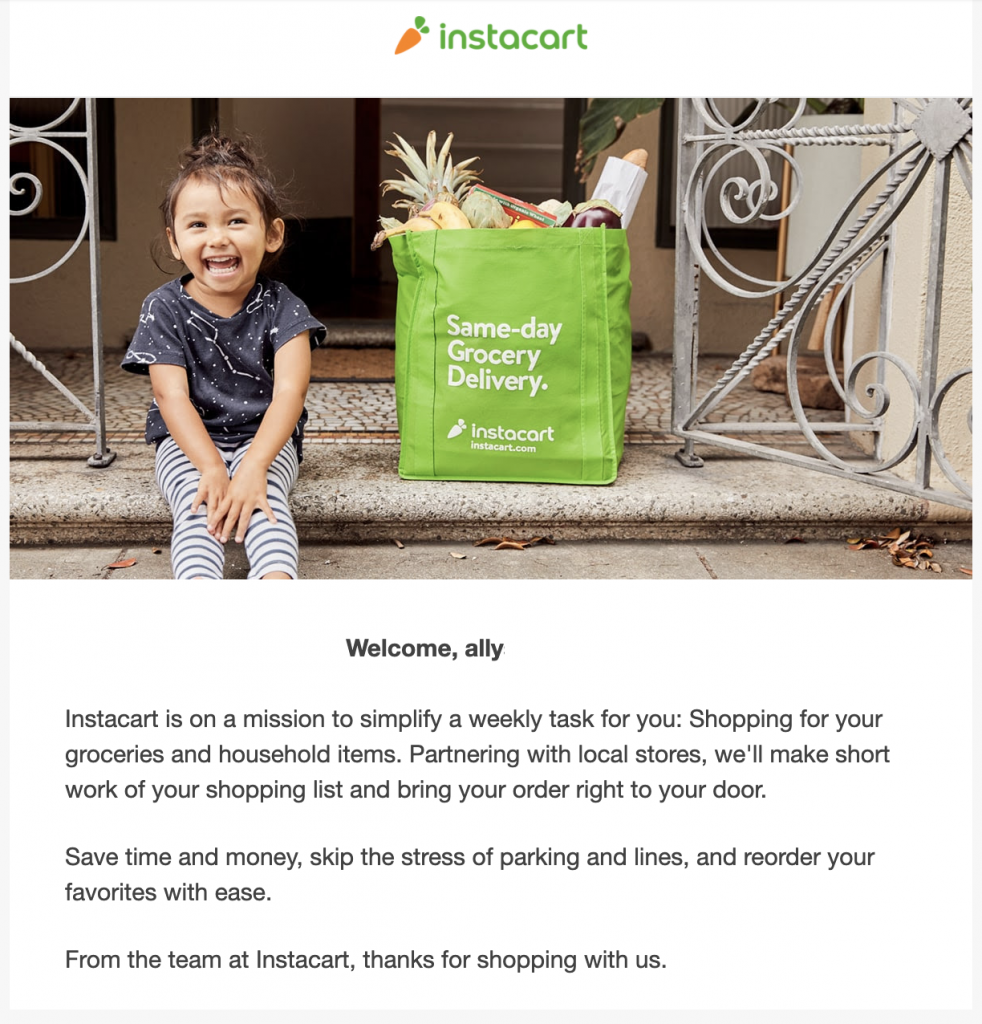 Instacart welcome email