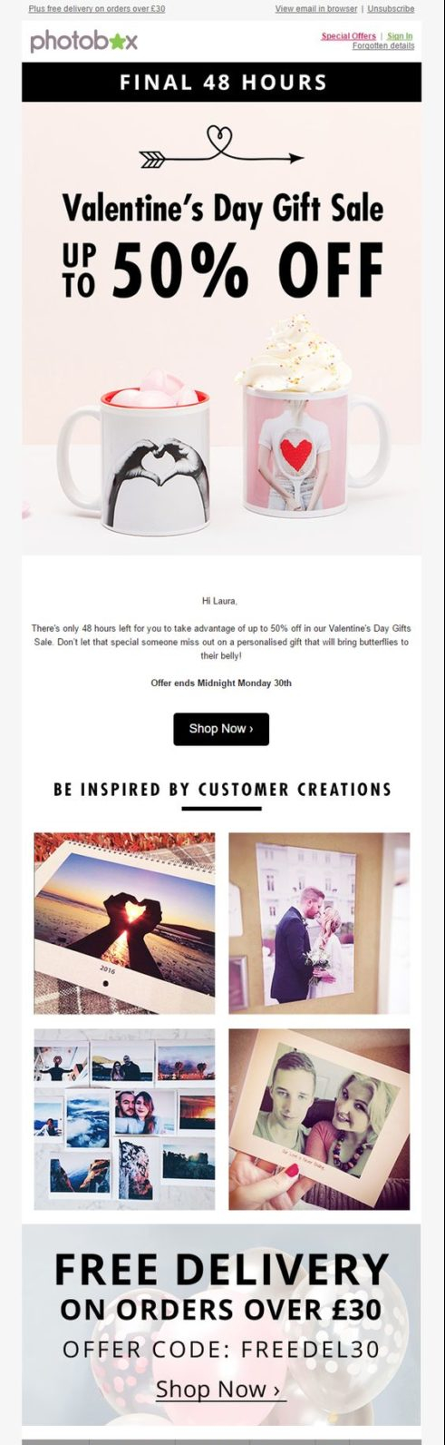 Photobox's valentine's day email campaign
