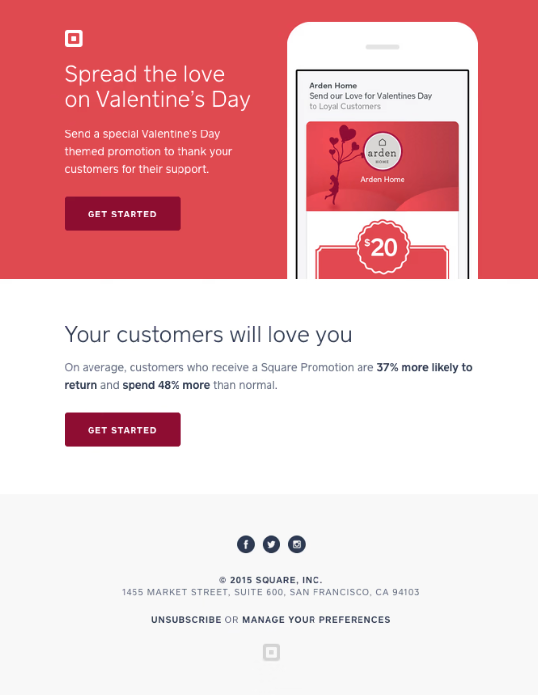square valentine's day email campaign