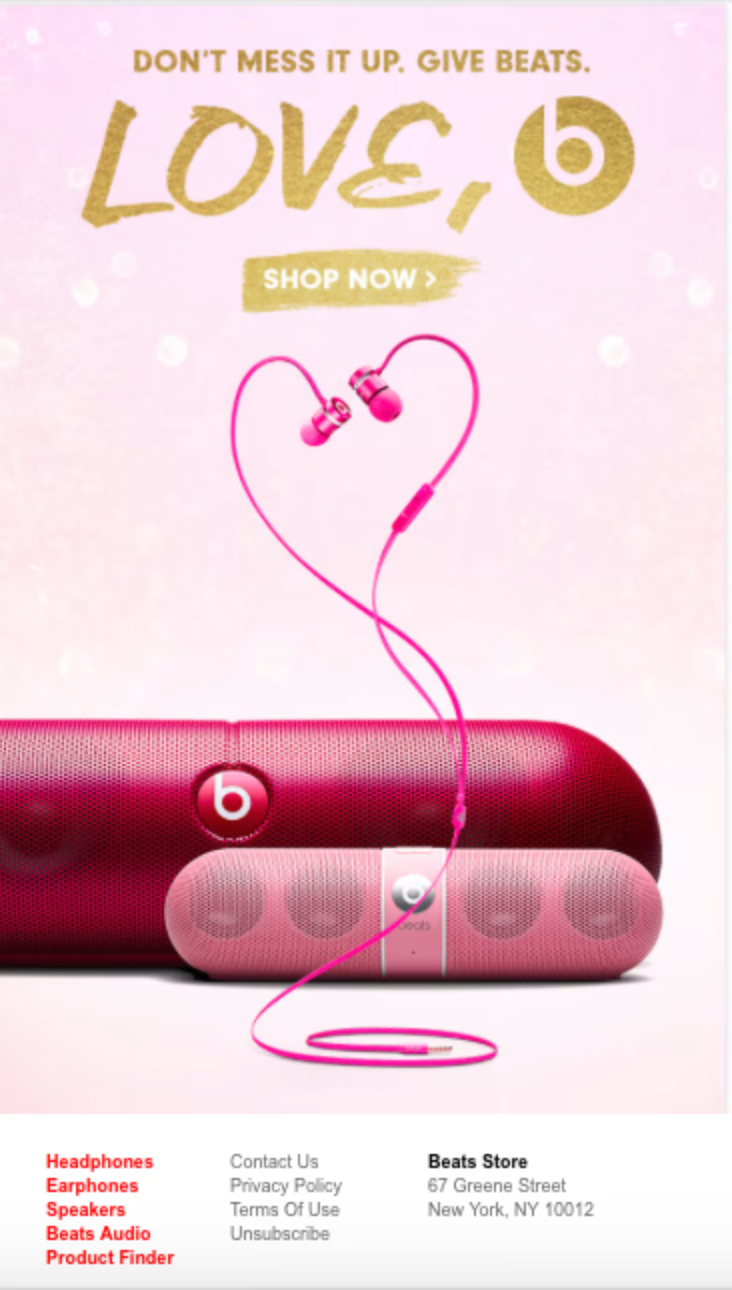 Beats by Dre Valentine's day email campaign