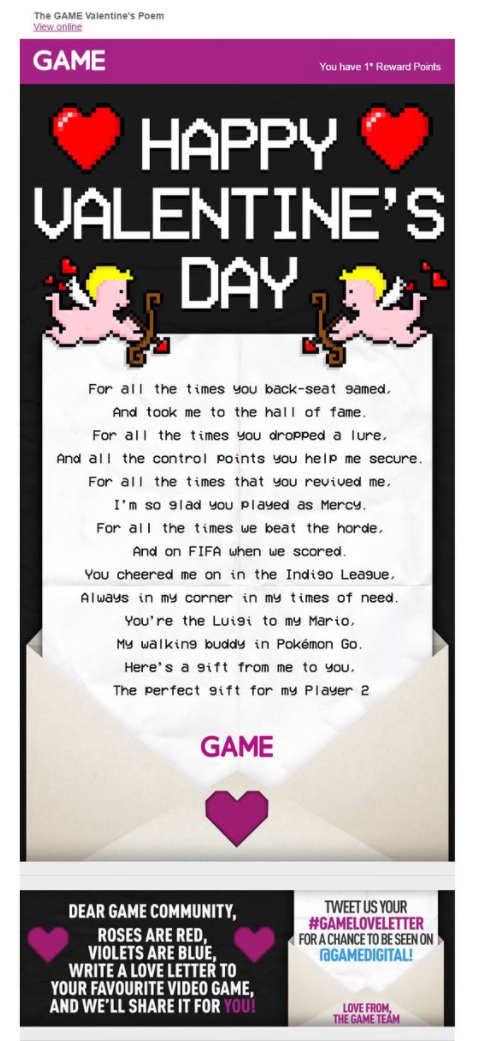 Game valentine's day email campaign