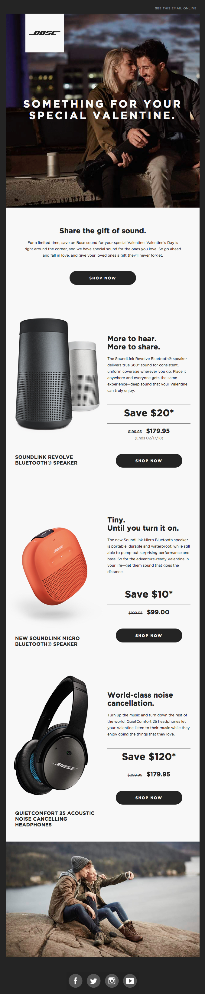 Bose's valentine's day email campaign