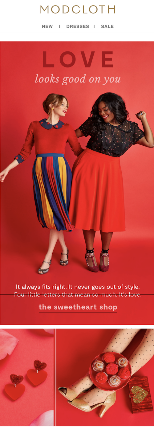Modcloth's valentine's day email campaign