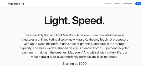 Apple AIDA email copywriting formula example