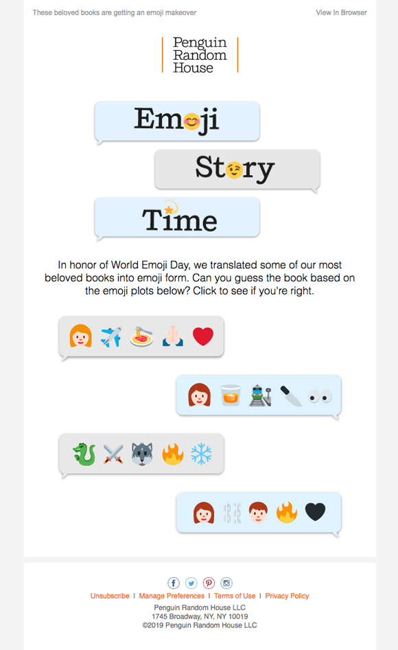 Email Design Example by Penguin Random House