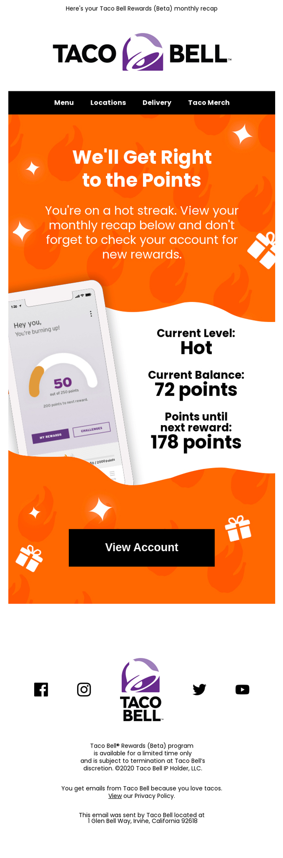 Email Design Example by Taco Bell
