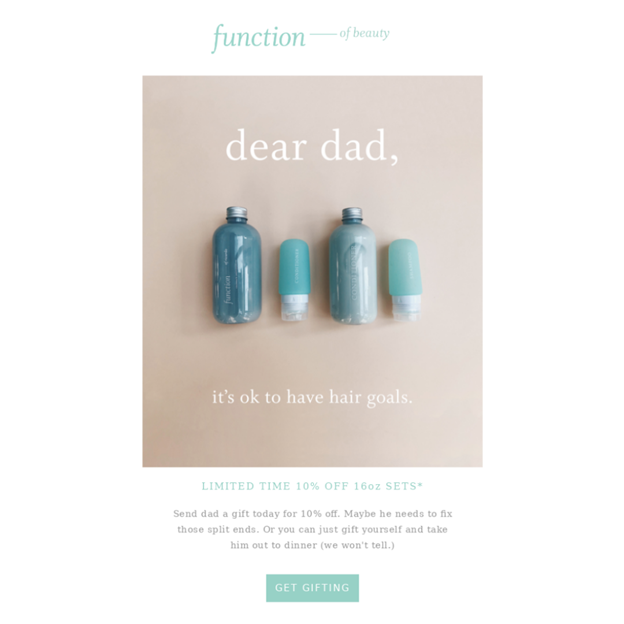 Function of Beauty - Father's Day Email Campaign Examples