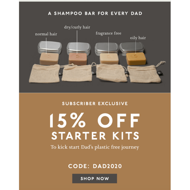 NueBar - Father's Day Email Campaign Examples