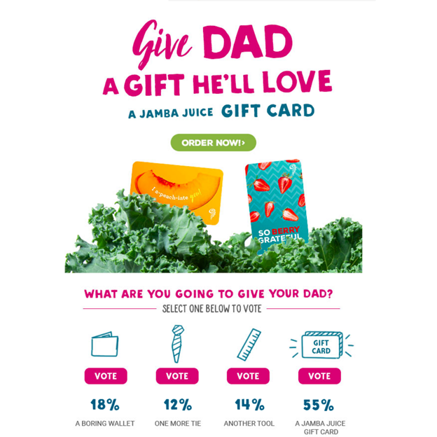 Jamba Juice - Father's Day Email Campaign Examples