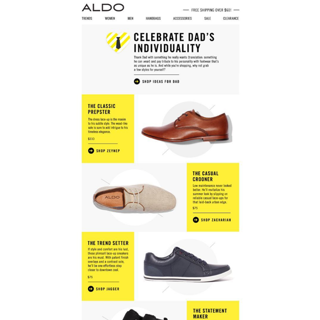 Aldo - Father's Day Email Campaign Examples